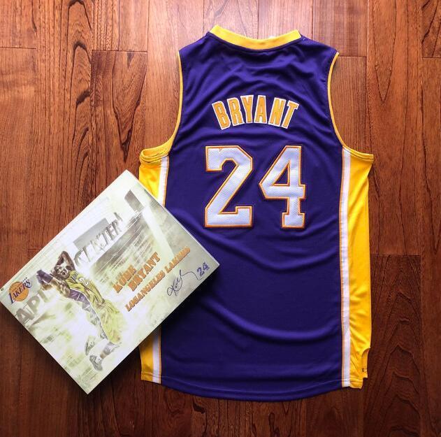 Maglie da basket da uomo LosAngeles.Lakers.Kobe.Bryant.2008-09 Finals Hardwoods Classics Player Jersey e corto