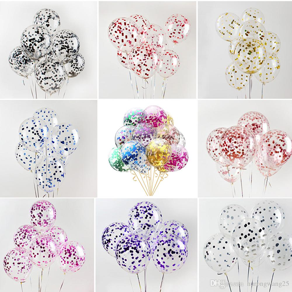 12inch 100pcs/lot Multicolor Latex Sequins Filled Clear Balloons Novelty Kids Toys Confetti Ballons Birthday Party Wedding Decorations