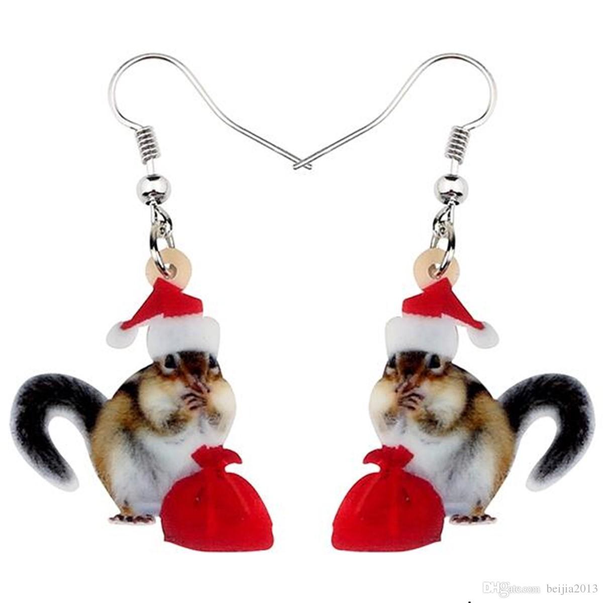 Acrylique Noël doux d'écureuil Sac cadeau Boucles d'oreilles animaux Pendent Bijoux Femmes Fille Enfants Fête Décoration Charm cadeau