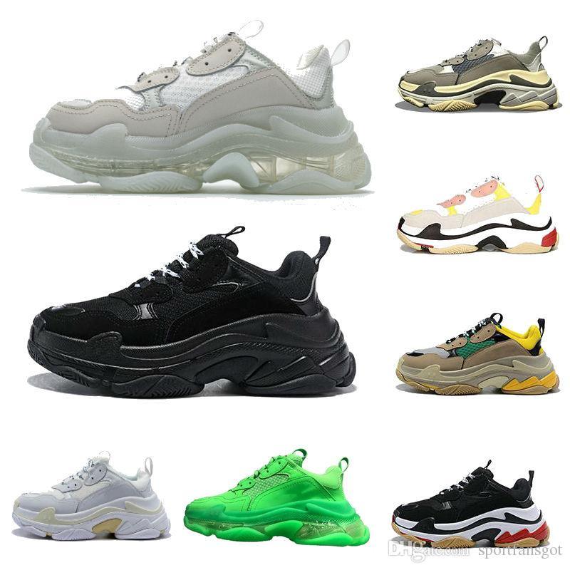 2021 Paris Triple S Clear Bottom Green Shoes Top Top Sneakers Hombre y Mujer Papá Plataforma Deportes Entrenadores Deportes 36-45
