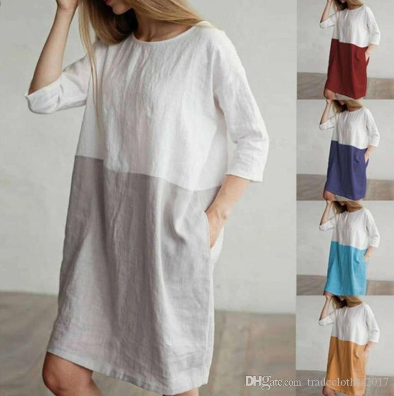 10pcs Plus Size Cotton Dress female Casual Dresses Sexy Women summer long street style dresses cheap long t-shirts