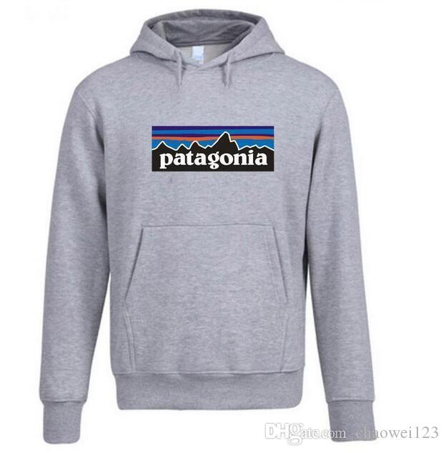Patagonia para hombre sudaderas Primavera Otoño Nueva Fleece con capucha Mountain letras impresas con capucha