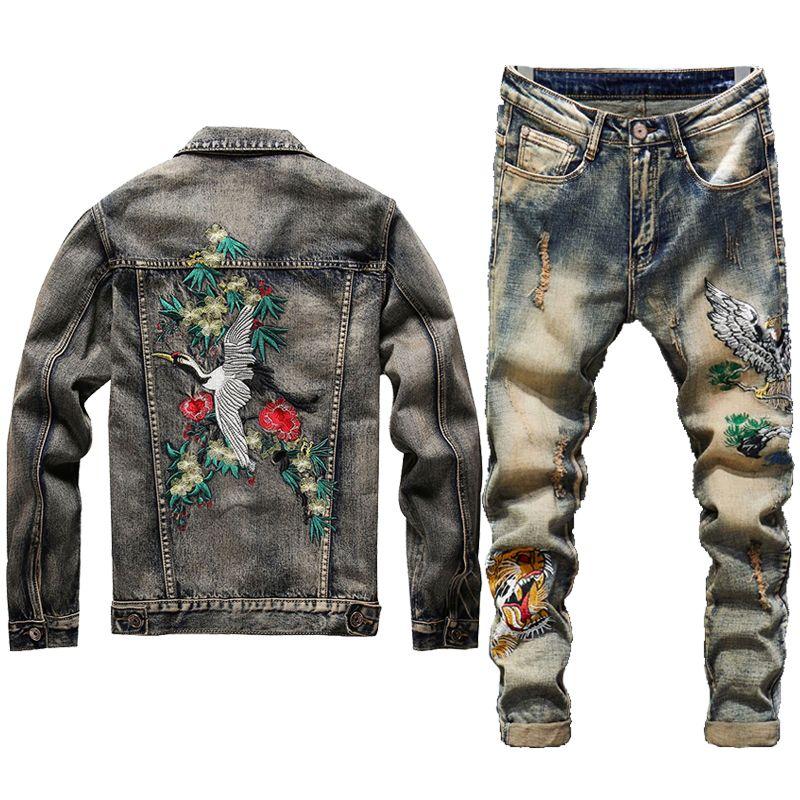 Yeni Erkekler Jeans Ceket Takımları Moda Sonbahar Nakış Kırmızı Crowned Crane Suit Vest + İşlemeli Kaplan kafalı Jeans Erkek Giyim 2 Parça Setler