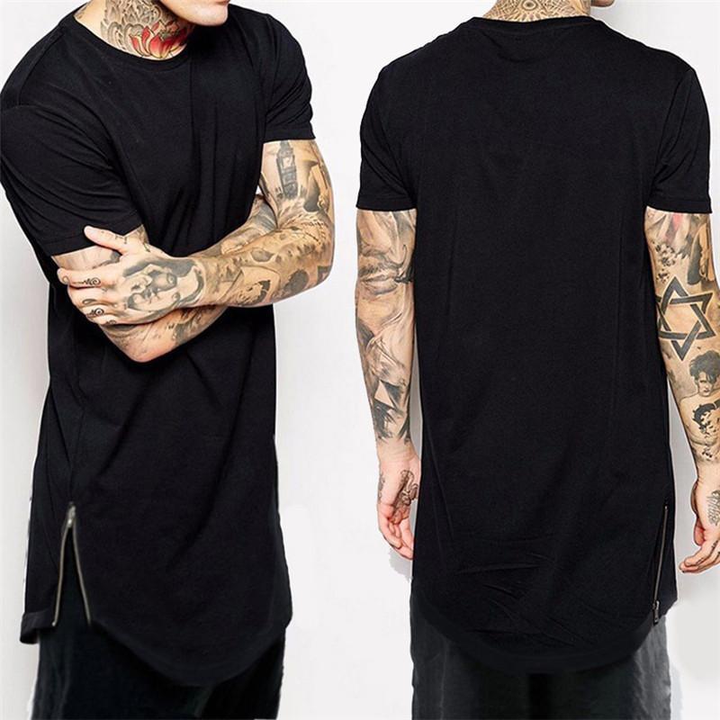 Diseñador de moda las camisetas Alargado Arco circular camisa de cuello redondo de la cola de la cremallera para hombre camiseta para hombre del diseñador del color sólido camiseta