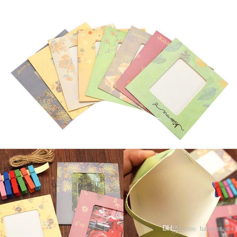 إطار 8PCS صور + 8PCS مقاطع خشبية + حبل 1PC 3INCH تعليق على الحائط صورة ورقة الإطار صور صورة العرض الحديثة فن الديكور ديكور المنزل