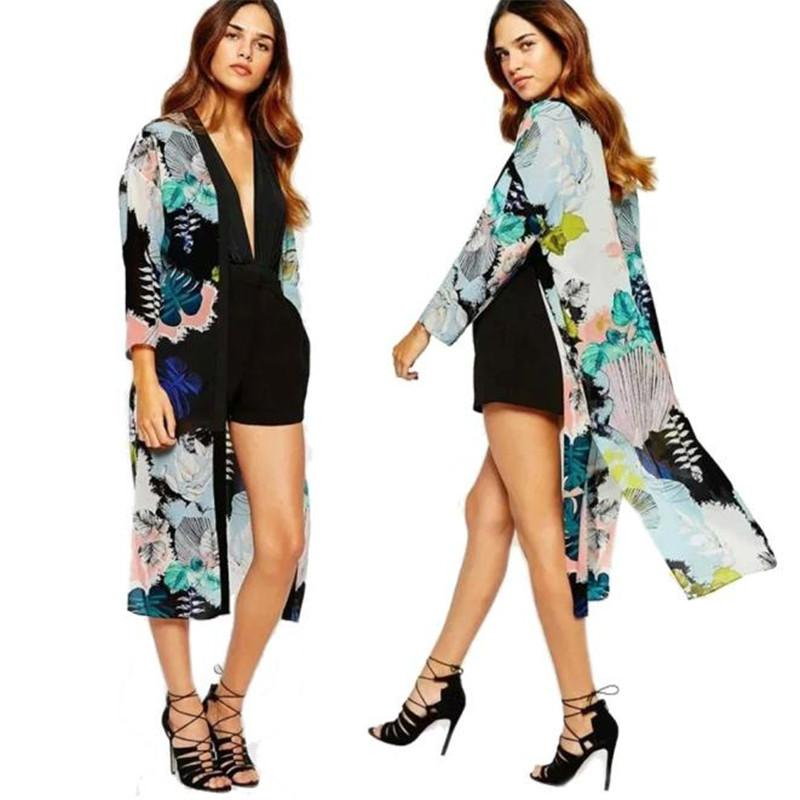 Giacche da donna Kancoold Cappotti Cappotti Cappotti Cappotti Boho Stampato Scialle Chiffon Long Kimono Cardigan Cardigan Cover Up e Donne 2021Nov30