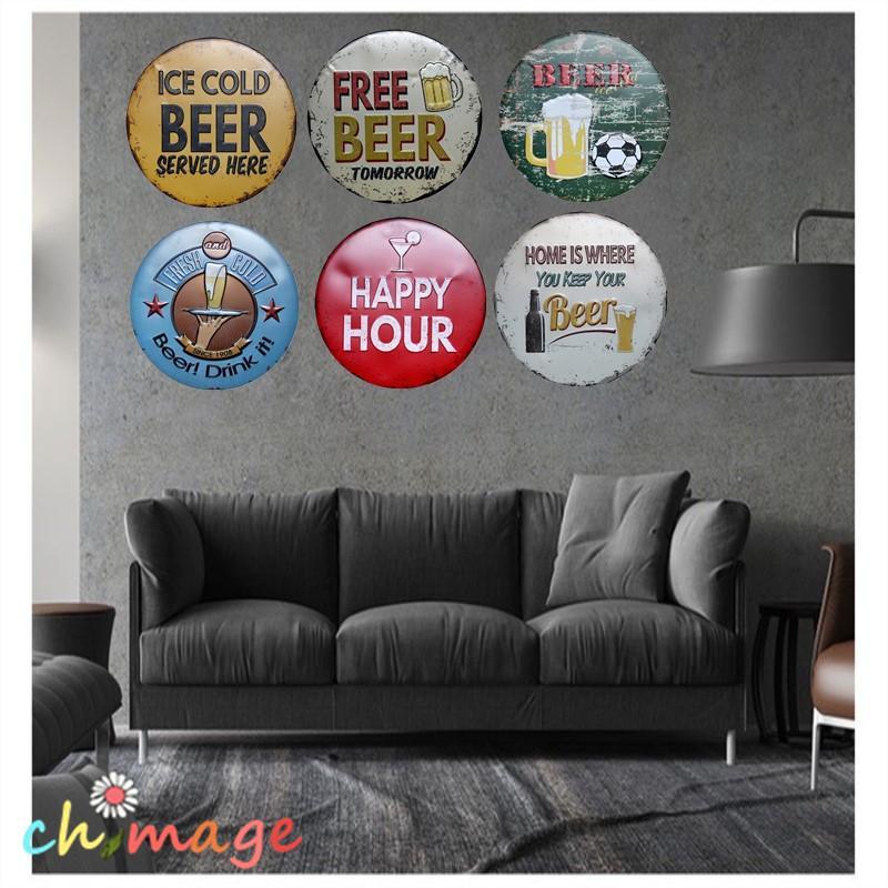 Mutlu Saat Bira Tarzı Duvar Boyama Retro Hediye Metal Zanaat Otel Cafe Bar Ev Duvar Dekor Y19061804
