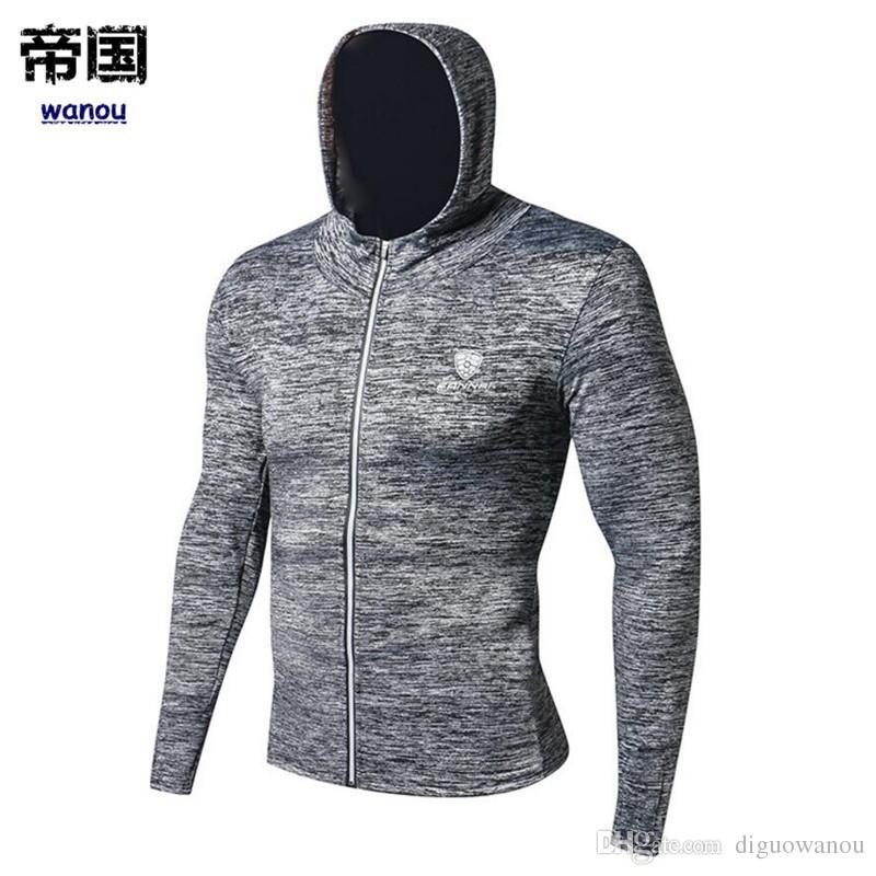 Erkekler Gym Fitness Eğitimi Hoodies Kazak Hızlı Kuru Elastik Skinny Spor Man Run Koşu Egzersiz Vücut Marka Giyim Tops