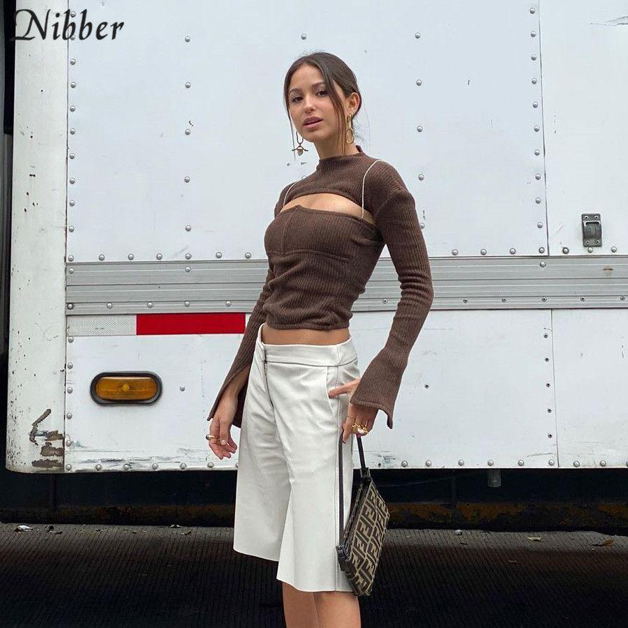 Nibber señora de la oficina moda de otoño tejer hueco Delgado encabeza las mujeres de la calle camisetas ocasionales 2019 de la manga llena simples en las camisetas mujer T200617