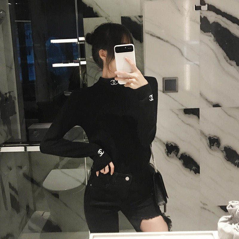2020 nuevo diseño de punto suéter de la edición de invierno mujer elegante delgada medio cuello alto manga larga jersey jersey