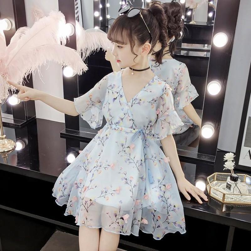 2020 Summer New Little Girls Dresses Children's Dresses For Girls Princess Dress Lovely Horn Sleeve Banquet Party Dress