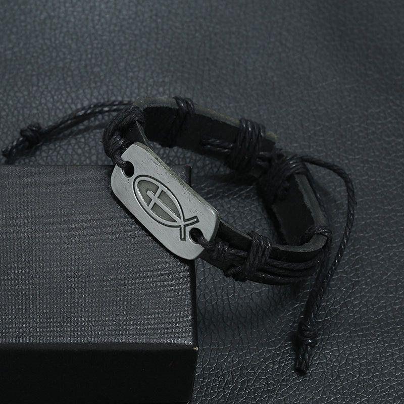 Luxury Fashion Black Cowhide Genuine Leather Rope Bracelets Bangles For Women Men Silver Alloy Christian Cross Jesus DIY Charm Jewelry Gifts