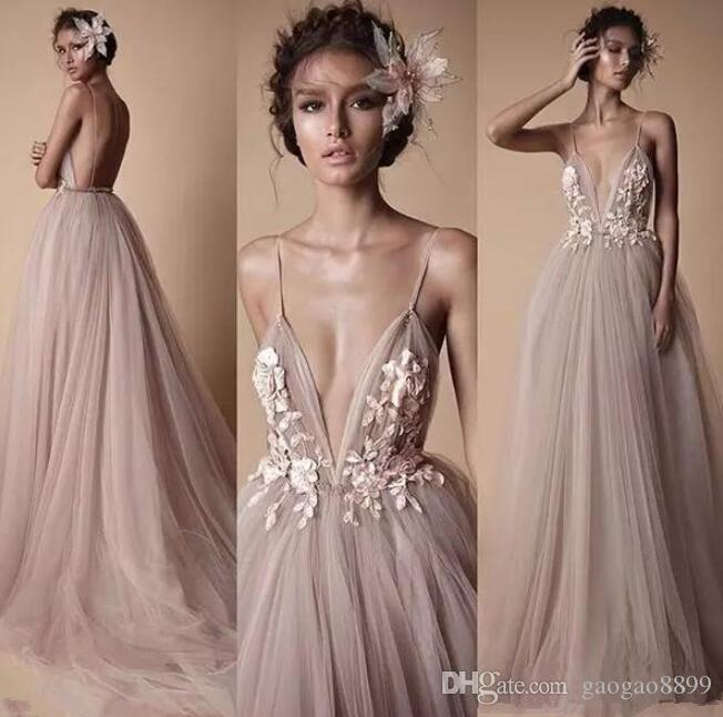 Berta boho Wedding Formal Dresses Sheer Tulle Lace Floral Spaghetti Sweep Train Backless Holiday Party gowns 2019 plus size cheap