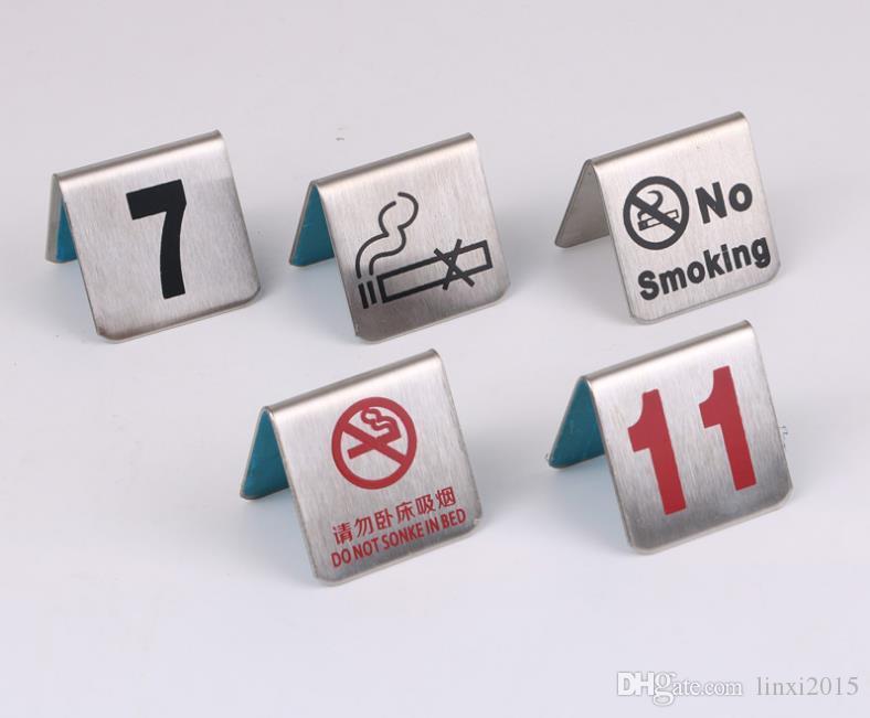 Номер 1-100 Таблица Нержавеющей стали номер карта No Smoking Небольшого стол Знак карта Ресторан Кафе Бар Инструменты SN1171