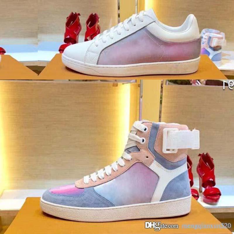 Платформа мода Cfashion повседневная обувь роскошный дизайнер Скейтбординг Обувь Мужчины женщины Спортивные ботинки Кожаные кроссовки на плоской подошве Спортивная обувь