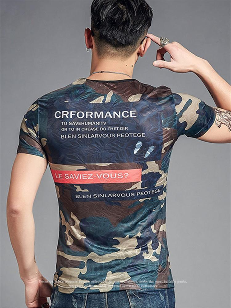 t shirt men t-shirt short sleeve tshirt summer fashion casual hollow out camouflage slim t-shirts male tops clothes tight fit clothing