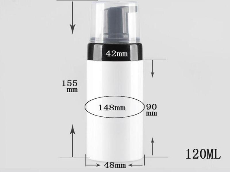 Botella de 120 ml blanca de plástico recargable viaje bomba espumador Body Wash jabón negro espuma bombas de botella de PET de bricolaje