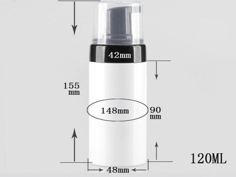 Bombas 120ml branca plástica recarregáveis viagem Foamer Bomba Bottle Body Wash sabão preto espuma PET DIY garrafa