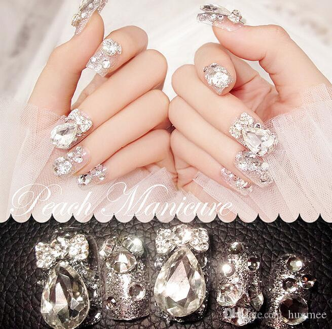 HugMee Nail Ornament 24pcs 3D False Nails Bling Glitter Fake Full Nail Tip Imperial Crown Rhinestone Decor Bowknot Nail Art M0048