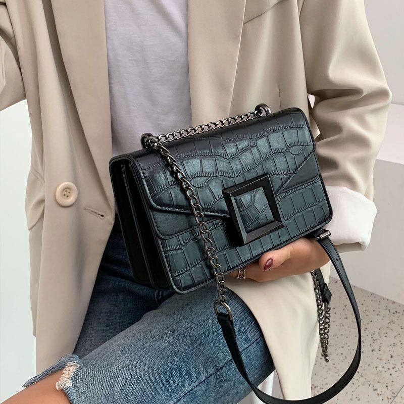 Женщины камень шаблон PU кожа сумка Crossbody сумки Малого плеча сумка цепь тотализаторы для женских 2020