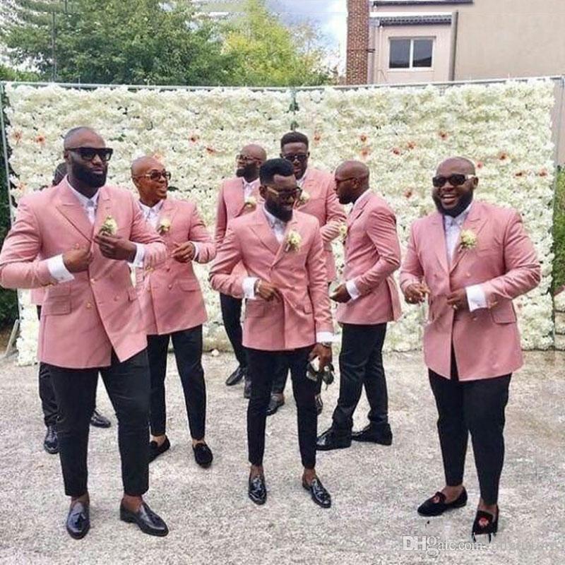 Rosa Leinen Bräutigam Smoking Männer Anzüge für Hochzeit Man Outfits zweireihiger 2Piece Marineblau Terno Masculino Kostüm Homme trajes de hombre