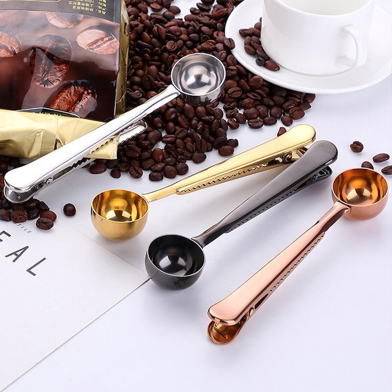 Outils 1pc De Cuisson De Thé Avec Seal Clip cuiller à café en acier inoxydable