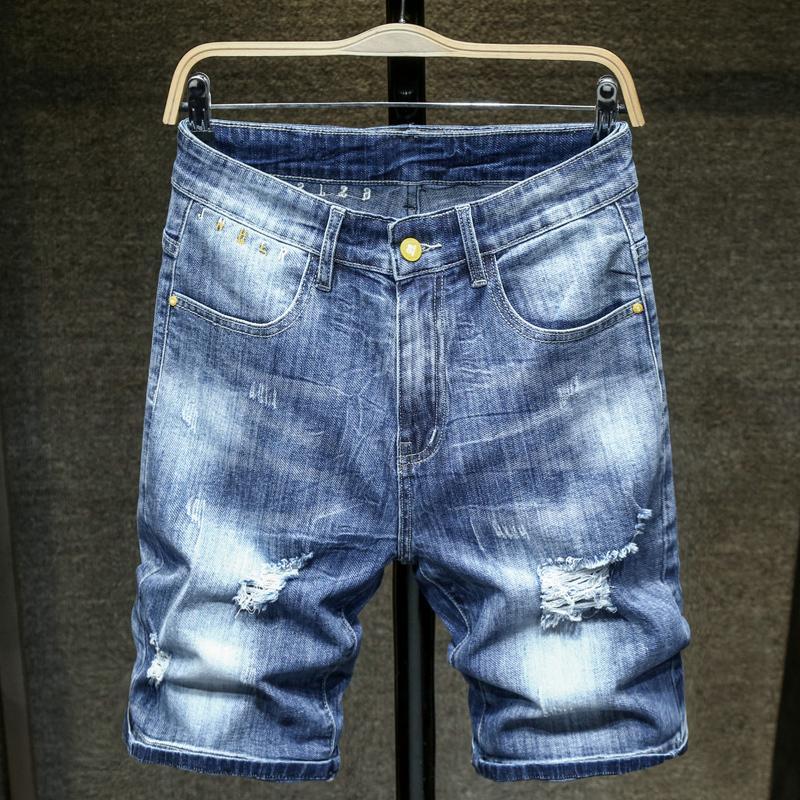 2020 Sommer-neue Männer Loch dünne Jeans-Shorts Fashion Stretch Thin Blue Denim Shorts Männlich Markenkleidung T200522