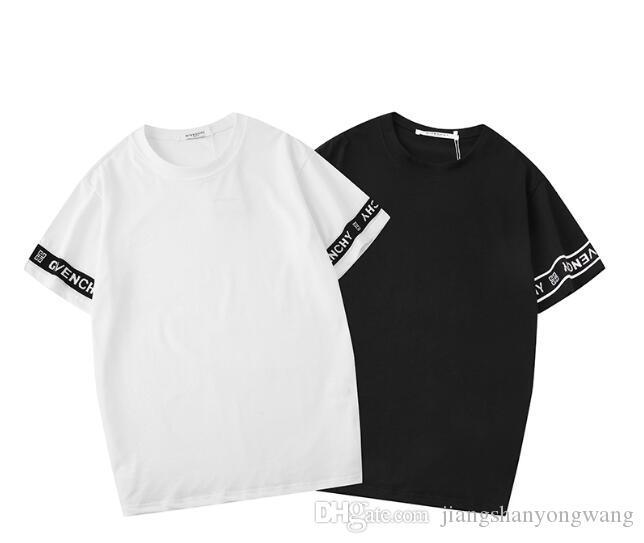 2019 여름 라운드 칼라 반팔 T 셔츠 새로운 패션 라운드 넥 부드럽고 얇은 남자 GIV 셔츠 여름 인쇄 하이 엔드 브랜드 GIV 티