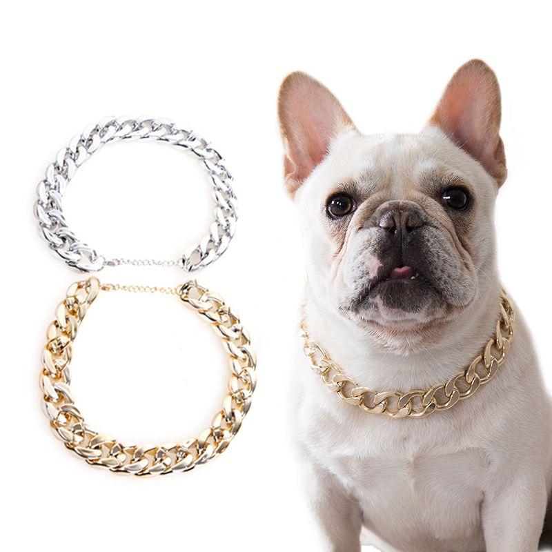 Petit chien Snack chaîne Teddy français Collier argenté / or Accessoires pour animaux Chiens Collier