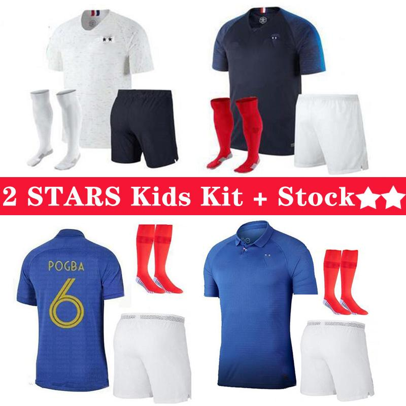 2 stars du football Jersey MBAPPE Pogba Griezmann Varane HERNANDEZ Football LEMAR chemises enfants kit de MAILLOT pieds