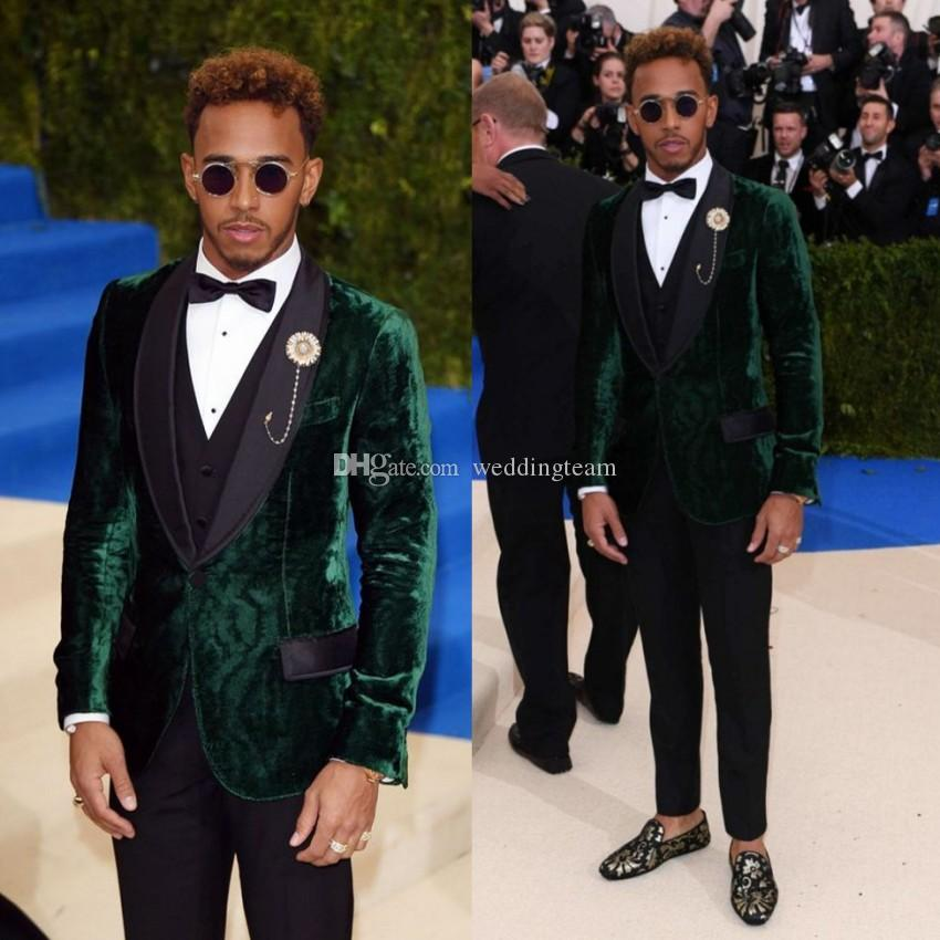 Hunter Green Three Pieces Velvet Mens Suits Shawl Lapel Wedding Grooms Tuxedos Slim Fit Formal Blazer Red Carpet Celebrity Prom Suit