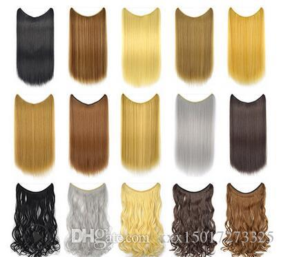 24 inches straight curly Clip on Wire Fish Line Hair Extensions Secret Invisible Wire One Piece for Ombre Hair Synthetic Hairpiece