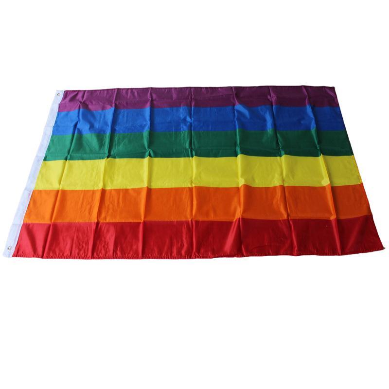 قوس قزح راية العلم 3x5FT 90x150cm المثليين العلم البوليستر راية قوس قزح ملون LGBT العلم مثليه موكب أعلام الديكور VT0517
