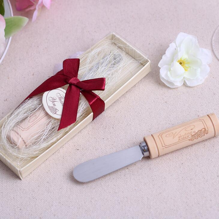 Presentes do partido com caixa de aço inoxidável LX2179 Espalhador com vinho Cork Handle Faca de Manteiga favor do casamento