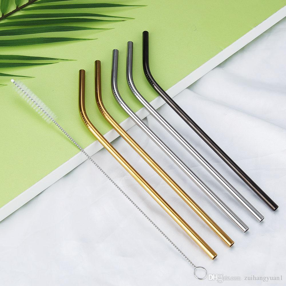 Yüksek Kaliteli 304 Altın Paslanmaz Çelik Hasır Yeniden kullanılabilir İçme Straw Metal Bent Düz Straw Temizleyici Fırça