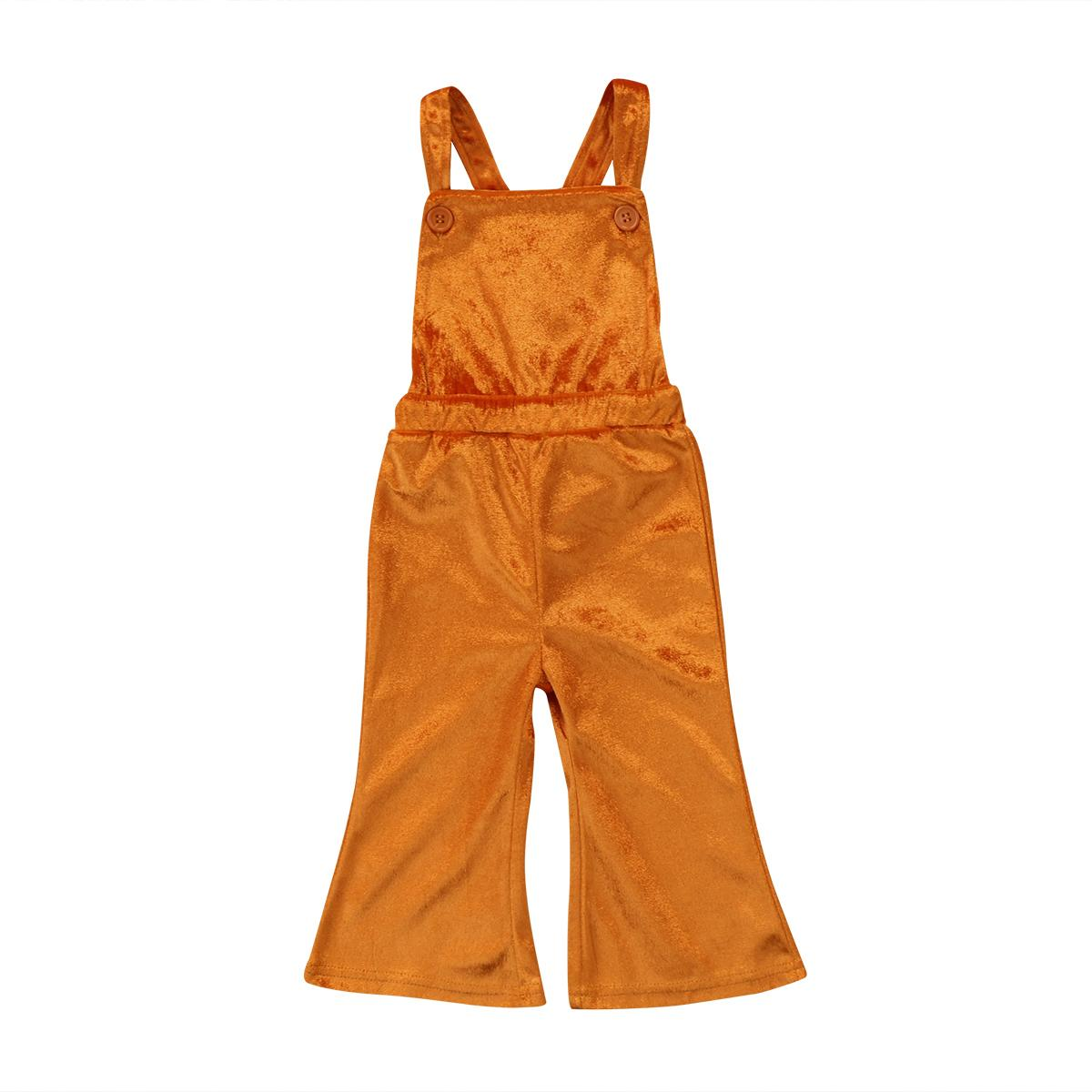 Boutique Toddler Kids Girls Solid Silk veralls Romper Jumpsuit Flared Bib Pants Clothes