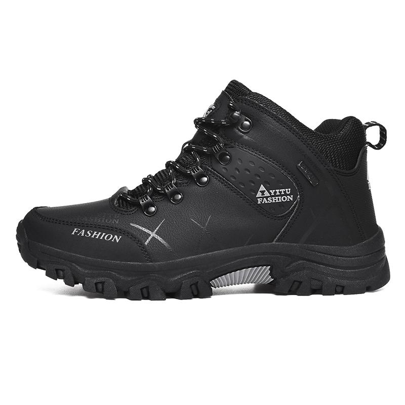 Bottes d'hiver en cuir cheville Chaussures Hommes Casual Outdoor travail imperméable Tooling Hommes Chaussures de randonnée Chaussures de sport Réchauffez militaire Bottes de neige