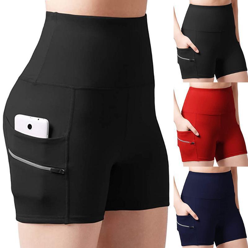 Gimnasio Sendero Pantalones cortos para correr Yoga Pantalones cortos de las mujeres de cintura alta elevación empuje hasta que quede apretada Deportes Doble bolsillo Yoga Fitness Short Pant 2020