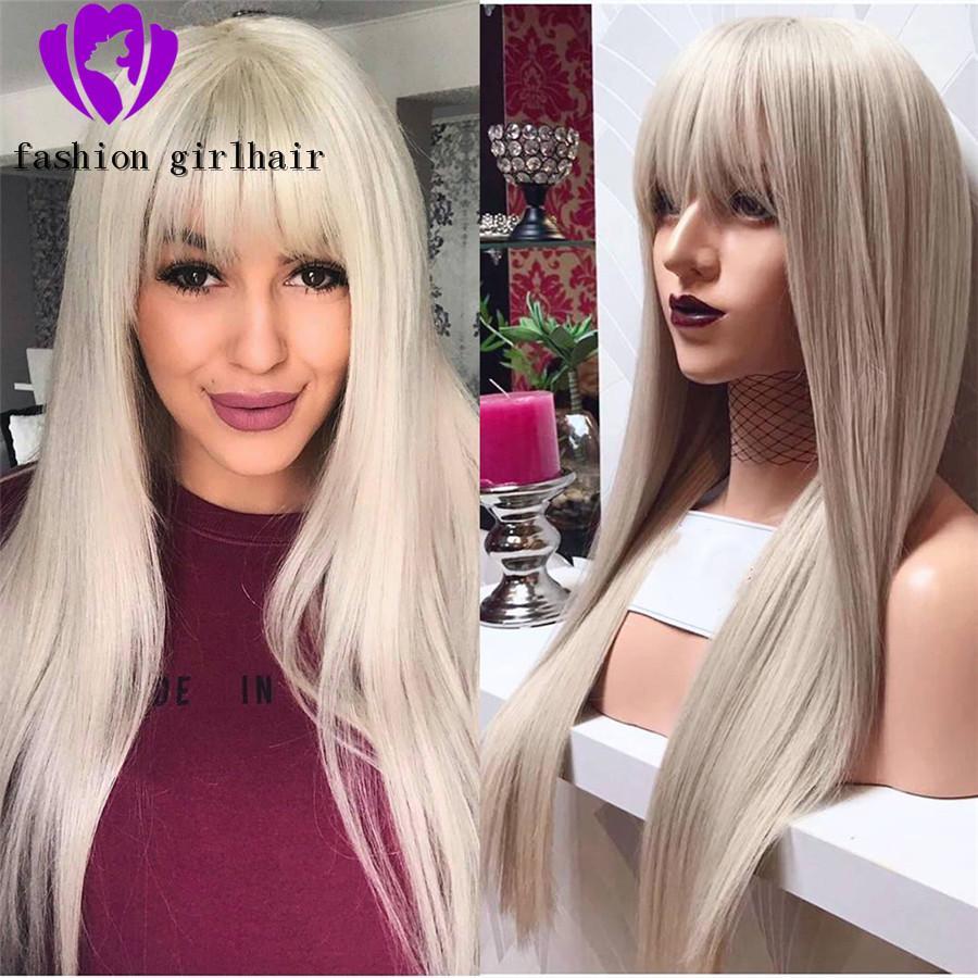 Nouveau noir / blond / brun / rouge droite perruques avant de dentelle brazilian avec Bangs Pre plumé Glueless avant de dentelle perruque synthétique pour les femmes noires