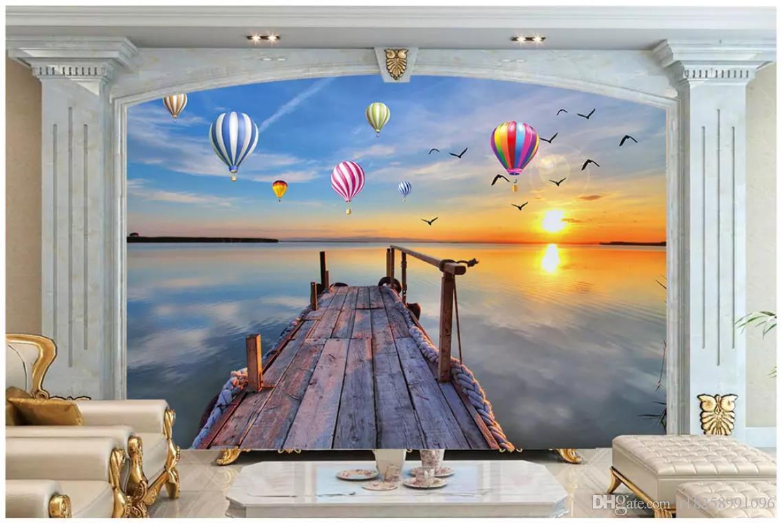 Photo 3d papier peint haut de gamme mural personnalisé Silk sticker mural Maldives plage cocotier Égée TV fond d'écran papier peint