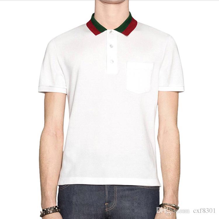 пчелиного Polo дизайнер рубашки мужских футболок мода бренд одежда с коротким рукавом calssic роскоши тенниски высокого качества вскользь дела верхней частями тройника X-3XL