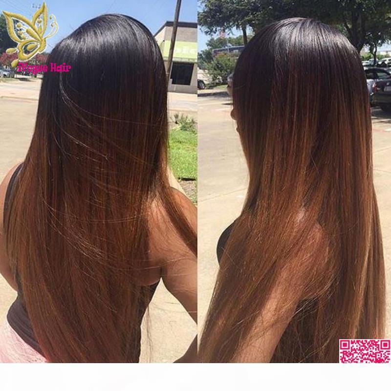 Jungfrau-brasilianische seidige gerade Ombre U Teil Perücken Menschliches Haar Zwei Ton-Farbe T # 1b 30 Upart Menschenhaar-Perücke für schwarze Frauen