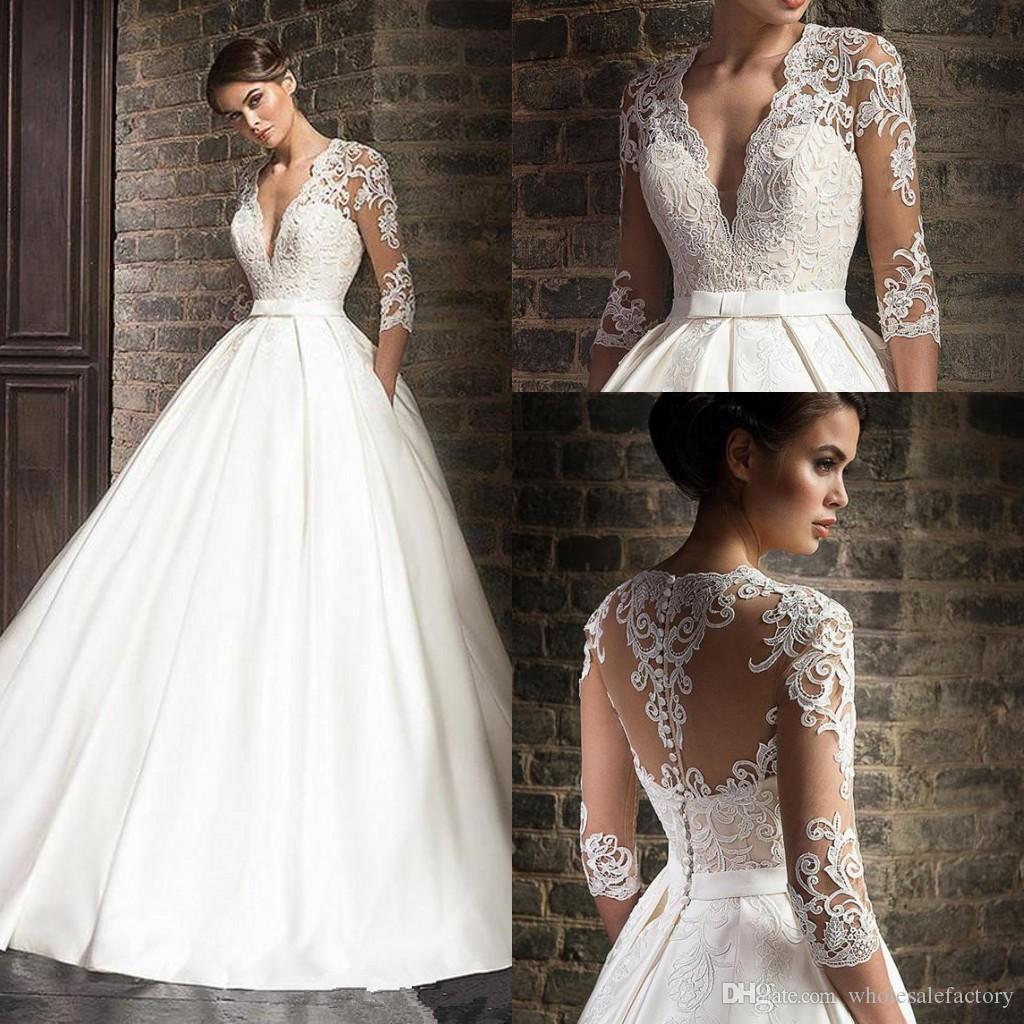 V-Ausschnitt Satin A-Linie Brautkleider 2020 Bloße lange Ärmel Tüll Spitzeapplique-Schleife-Zug-Hochzeit Brautkleider mit Taschen