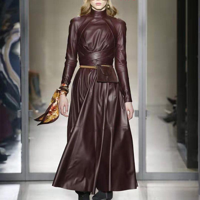 OMIKRON New Mode Automne piste solide Femmes Mot Faux cuir PU robe à manches longues taille haute avec Jupettes Maxi Robe plissée