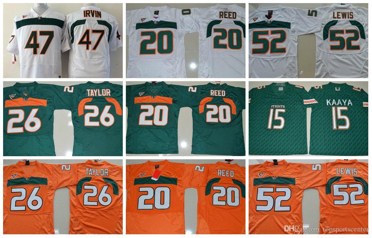 NCAA homens baratos Jerseys 15 Brad Kaaya 5 JOHNSON 52 Ray Lewis 26 Sean Taylor 47 IRVIN 20 Ed Reed College Miami Furacões Camisas De Futebol
