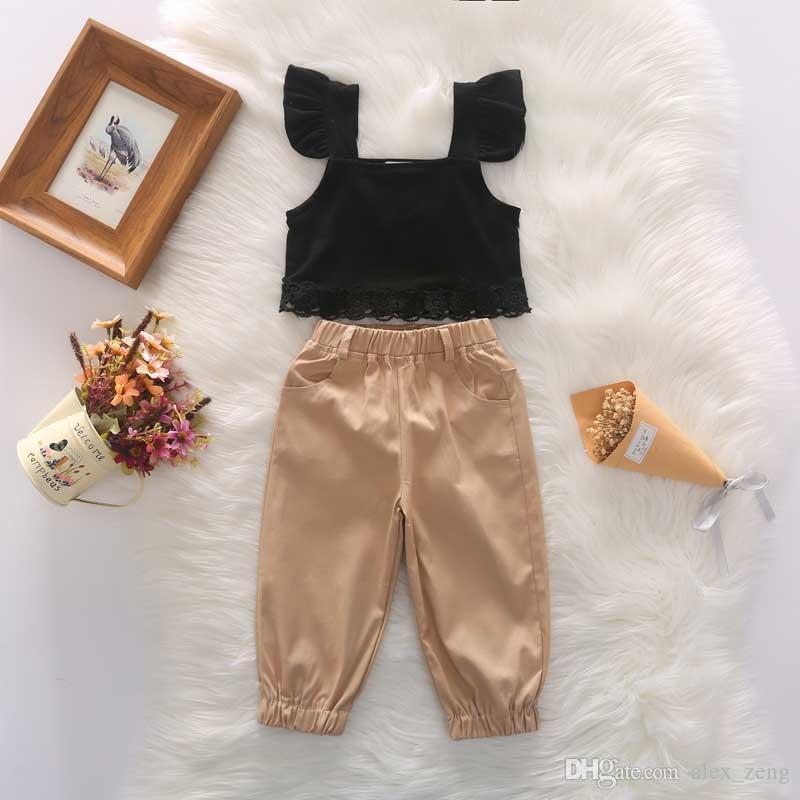مولود جديد بنات مجموعات أزياء أطفال الرباط يطير كم مطاطا الأعلى + سروال 2 قطعة بدلة الأطفال الصيف ملابس الاطفال الملابس