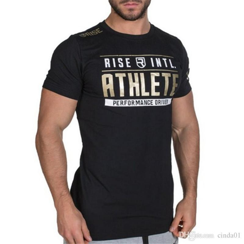 Rise Atleta para hombre del diseñador del Athletic camiseta de Casual Male gimnasia de verano de algodón de cuello redondo Camiseta