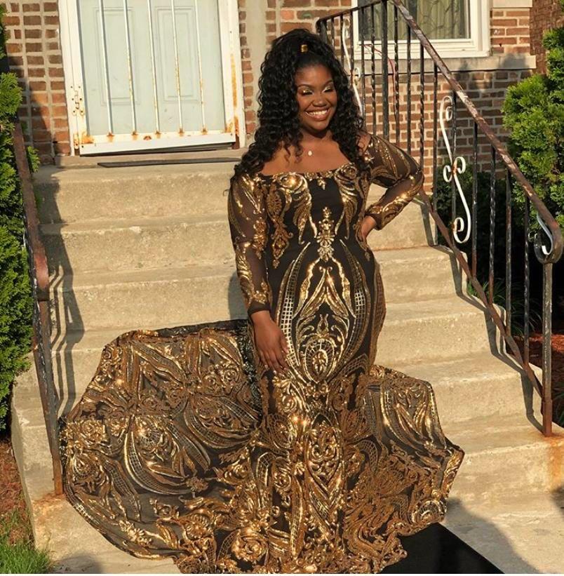 Черный с золотом арабский плюс Размер новый конкурс платье выпускного вечера с открытыми плечами с длинным рукавом особый случай вечерние африканские платья Vestido де феста