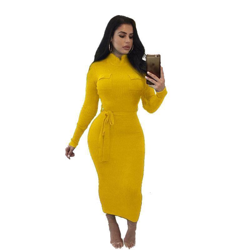 니트 코튼 드레스 인쇄 가을 새로운 트렌드 레이디 캐주얼 노란색 화이트 시스의 긴밀한 허리 띠 밴드 장식 중순 송아지 드레스를 포켓