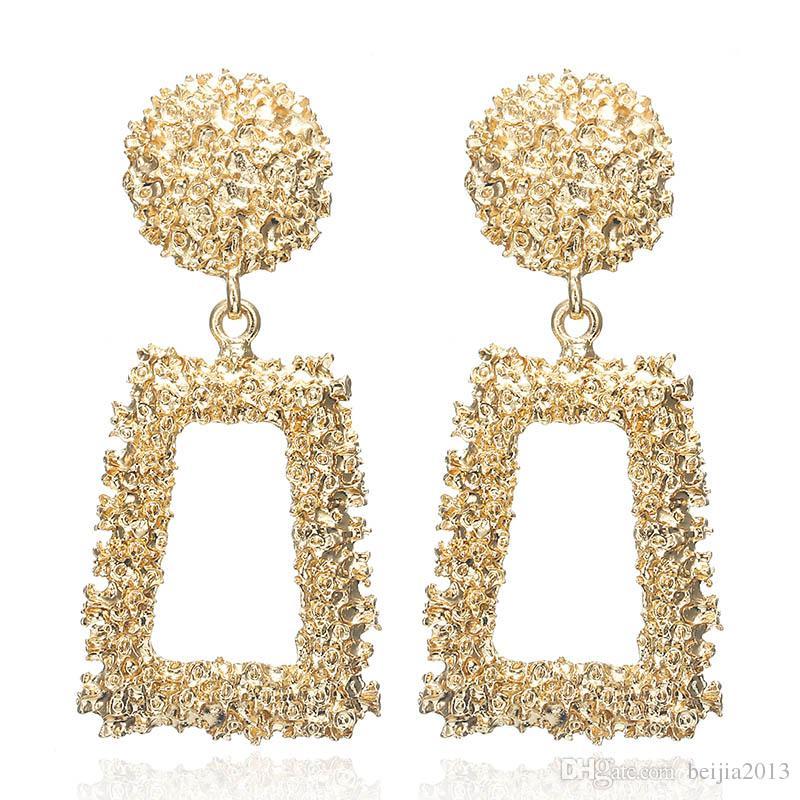 Big Vintage Brincos para as mulheres da cor do ouro declaração Geométrica brinco 2019 de metal earing Pendurado moda jóias tendência